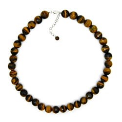 Pearlz Ocean Sterling Silver Yellow Tiger's Eye Bead 18-inch Necklace