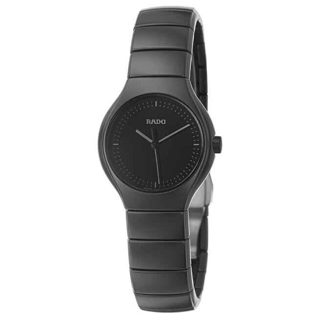 Rado Women's 'Rado True' Silvertone Black Ceramic Swiss Watch