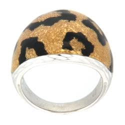 Pearlz Ocean Sterling Silver Golden and Black Animal Print Enamel Ring