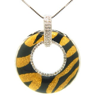 Pearlz Ocean Silver Animal Print Enamel and White Topaz Necklace