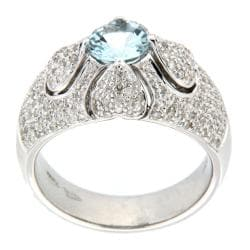 D'sire 10k White Gold Aquamarine and 7/10ct TDW Diamond Ring (H-I, I1-I2)