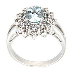 D'sire 10k White Gold Aquamarine Oval and White Sapphire Ring