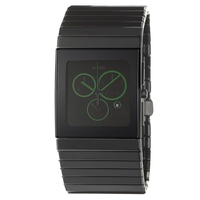 Rado Men's 'Ceramica' Black Ceramic Snap-Back Swiss Watch