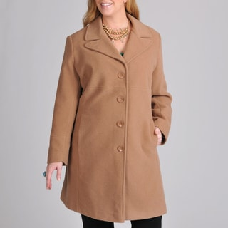 Larry Levine Women's Plus Wool-blend Walking Coat