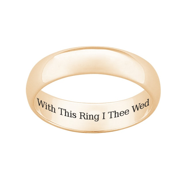 18k Gold over Sterling Silver 'With This Ring I Thee Wed' Wedding Band