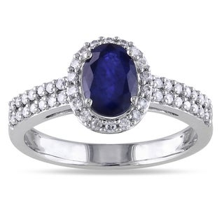 Miadora 10k Gold Sapphire and 1/3ct TDW Diamond Ring (G-H, I1-I2)