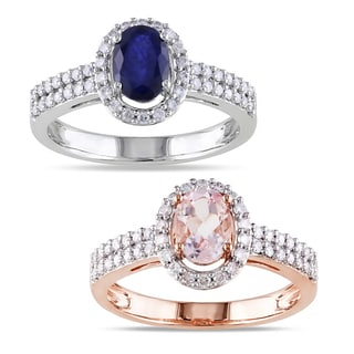 Miadora 10k Gold Sapphire or Morganite and 1/3ct TDW Diamond Ring (G-H, I1-I2)