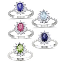 Miadora Sterling Silver Gemstone and White Sapphire Ring with Bonus Earrings