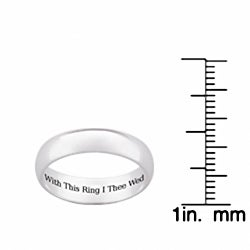 "Sterling Silver ""With This Ring I Thee Wed"" Wedding Band"