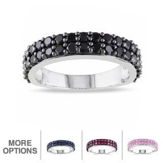 Miadora Sterling Silver and Round-cut Gemstone Stackable Ring