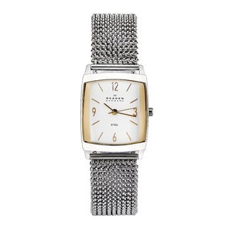 Skagen Women's White-Dial Stainless-Steel Stretch Watch
