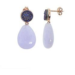 Eternally Haute Rose Gold over Silver Purple Druzy and Jade Earrings
