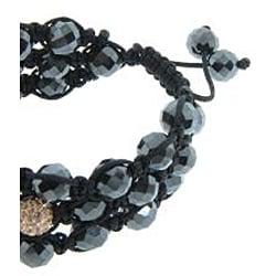 Eternally Haute Peach Czech Crystal and Hematite Macrame Cross Bracelet