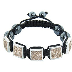 Eternally Haute Silvertone Czech Crystal and Hematite Macrame Bracelet