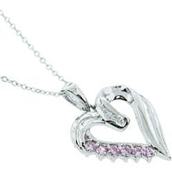 Eternally Haute Sterling Silver Pink Cubic Zirconia Heart Necklace
