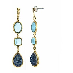 Eternally Haute Gold/ Silver Druzy and Simulated Aquamarine Earrings