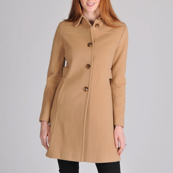 Larry Levine Women's Wool-Camelhair Walking Coat
