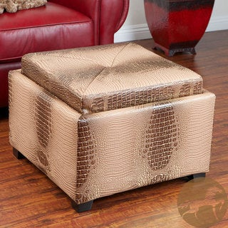 Christopher Knight Home Andrea Gold/ Brown Croc Tray-top Storage Ottoman