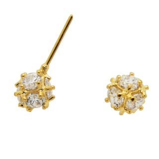Gold over Silver Children's Cubic Zirconia Ball Earrings
