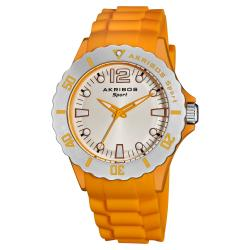 Akribos XXIV Luminous Quartz Silicon Yellow-Strap Watch