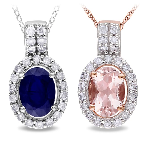 Miadora 10k Gold Morganite or Sapphire and 1/5ct TDW Diamond Necklace (G-H, I1-I2)
