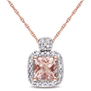 Miadora 10k Rose Gold Morganite and 1/10ct TDW Diamond Necklace (G-H, I1-I2)