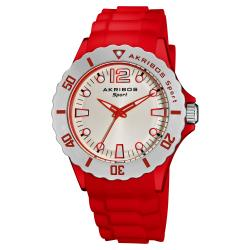 Akribos XXIV Luminous Quartz Silicon Red-Strap Watch