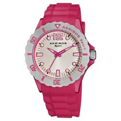 Akribos XXIV Luminous Quartz Silicon Pink-Strap Watch