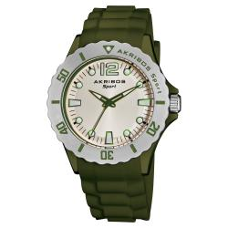 Akribos XXIV Luminous Quartz Silicon Olive-Green-Strap Watch