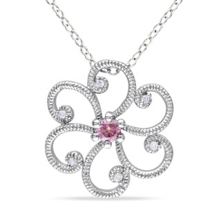 Haylee Jewels Silver 1/6ct TDW Pink Diamond Flower Necklace