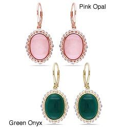 Sterling Silver Pink Opal or Green Onyx Oval Gemstone Earrings
