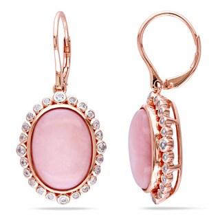 Sterling Silver Pink Opal or Green Onyx Oval Gemstone Earrings