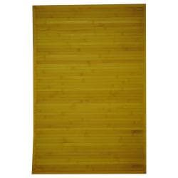 Asian Contemporary Handwoven Yellow Bamboo Rug (2' x 3')