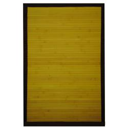 Asian Hand-woven Yellow Bamboo Rug (2' x 3')