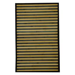 Asian Hand-woven Blue/ White Bamboo Rug (1'8 x 2'8)