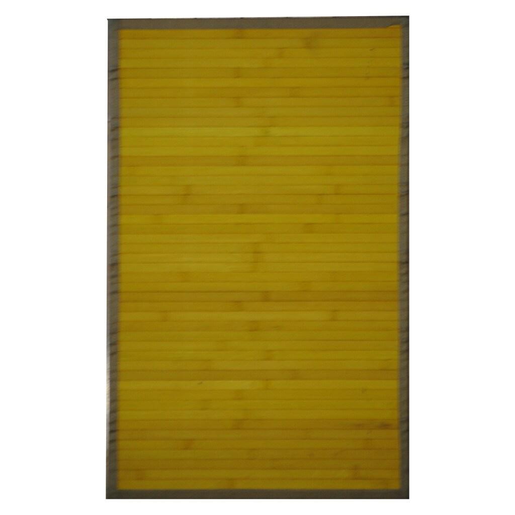 Asian Hand-woven Yellow Bamboo Rug (1'8 x 2'8)