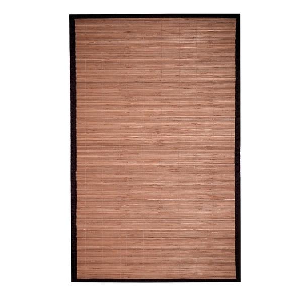 Herat Oriental Asian Handwoven Natural/ Dark Brown Bamboo Rug (1'8 x 2'8)