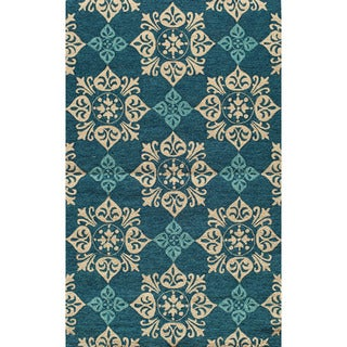 Indoor/ Outdoor South Beach Blue Medallions Rug (2'0x3'0)