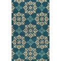Indoor/ Outdoor South Beach Blue Medallions Rug (3'9x5'9)
