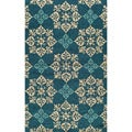 Indoor/ Outdoor South Beach Blue Medallions Rug (8'0x10'0)