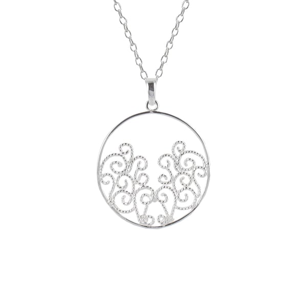 Sunstone Sterling Silver Round Filigree Necklace