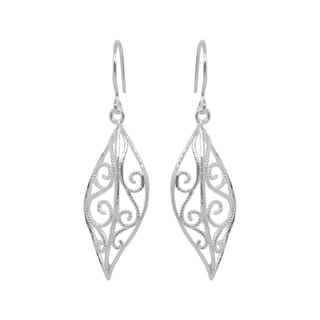 Sunstone Sterling Silver Filigree Leaf-shaped Dangle Earrings
