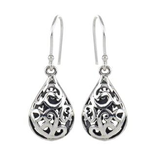 Sunstone Sterling Silver Teardrop Filigree Dangle Earrings