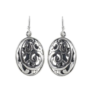 Sunstone Sterling Silver Filigree Open Oval Dangle Earrings