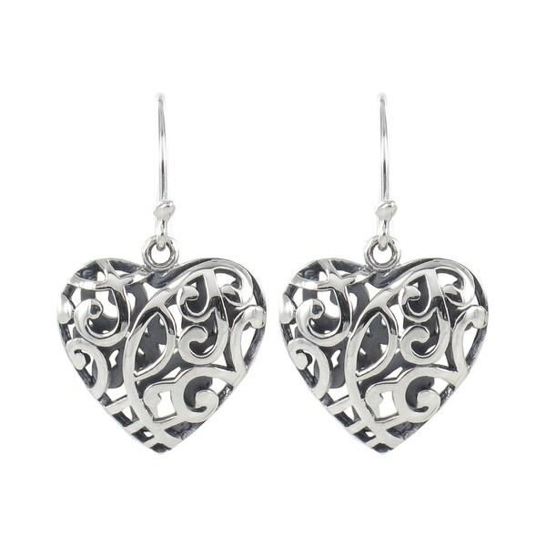 Sunstone Sterling Silver Filigree Open Heart Dangle Earrings