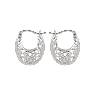Sunstone Sterling Silver Diamond-cut Filigree Saddleback Hoop Earrings
