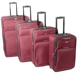 Kemyer Vacationer Lightweight 4-piece Burgundy Expandable Luggage Set