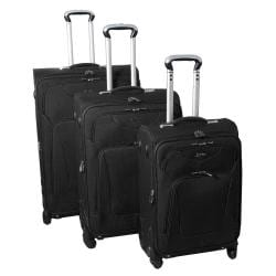 Jourdan Hassle Free Lightweight 3-piece Black Expandable Spinner Luggage Set