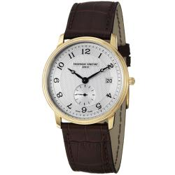 Frederique Constant Men's 'Slim Line' Silver Dial Brown Leather Strap Watch