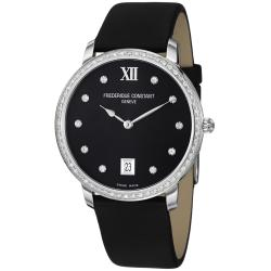 Frederique Constant Women's 'Slim Line' Black Diamond Dial Watch